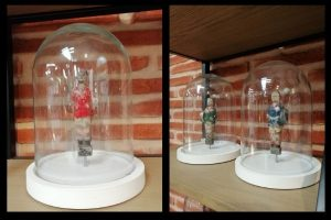Vintage deco glass bell with foosball players